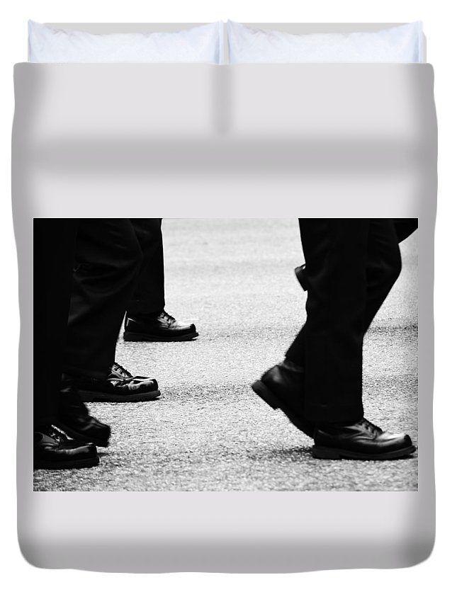 Street Photography Duvet Cover featuring the photograph Reluctant March by The Artist Project