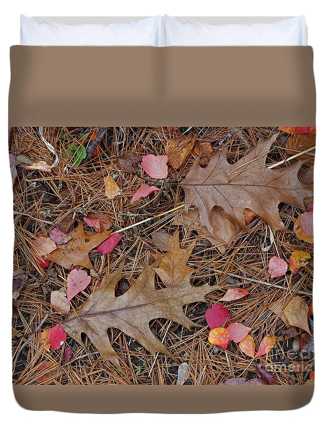 Leaf Duvet Cover featuring the photograph Remainders by Ann Horn