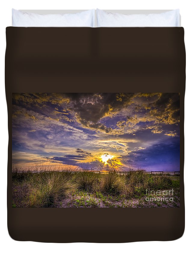 Sunset Duvet Cover featuring the photograph Remember This Day by Marvin Spates