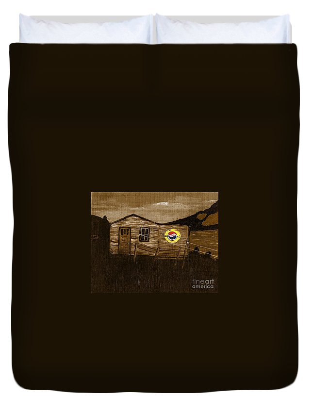 Remember When Old Pepsi Sign Duvet Cover featuring the photograph Remember When - Old Pepsi Sign by Barbara Griffin