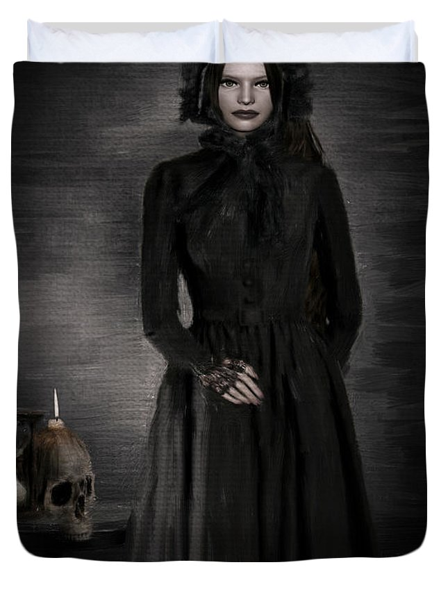 Woman In Black Duvet Cover featuring the photograph Remember Your Mortality by Lourry Legarde