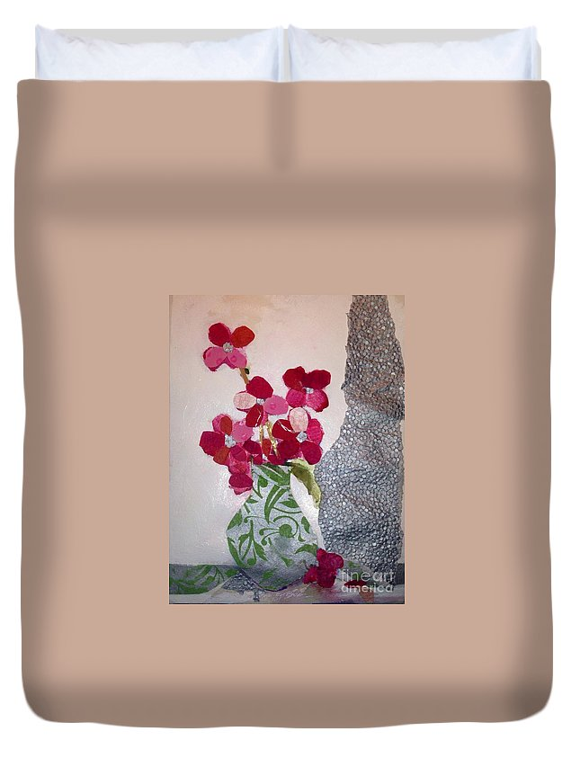 Poppies Duvet Cover featuring the painting Rememberance by Sherry Harradence