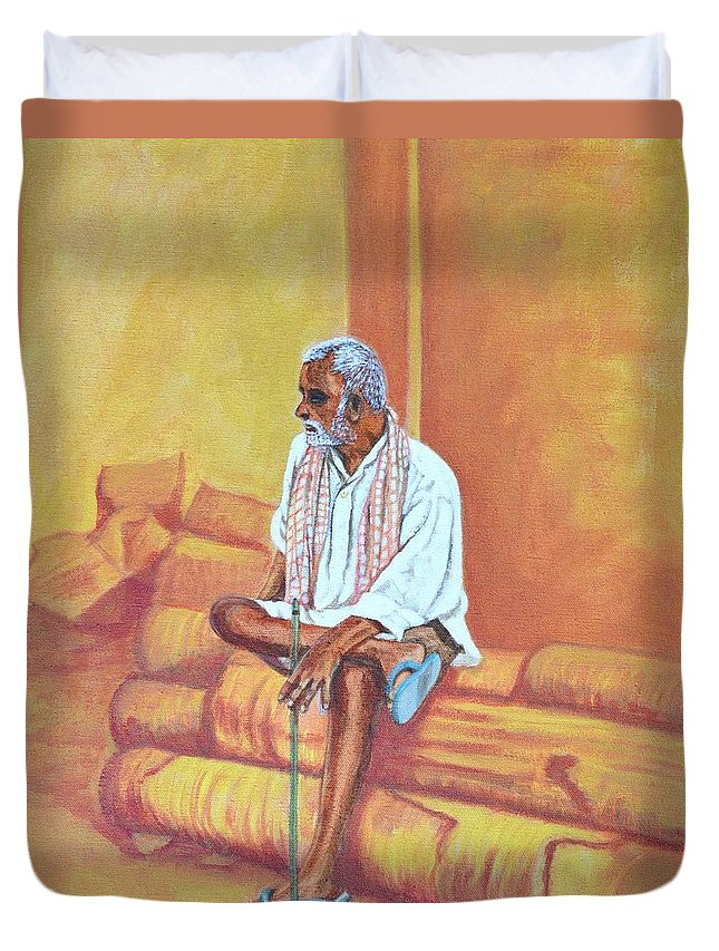 Usha Duvet Cover featuring the painting Reminiscing by Usha Shantharam