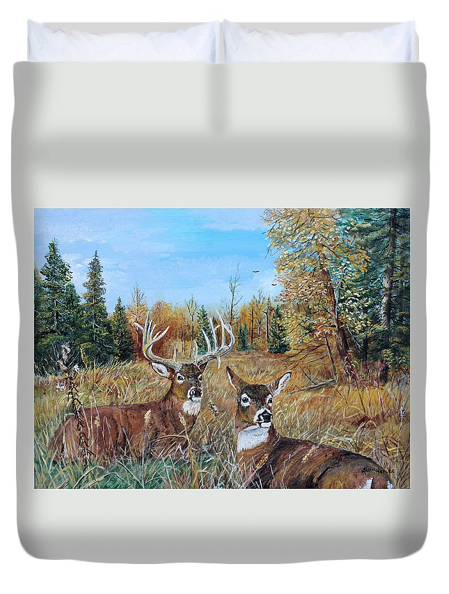 Whitetail Duvet Cover featuring the painting Rendezvous Whitetail by Alvin Hepler