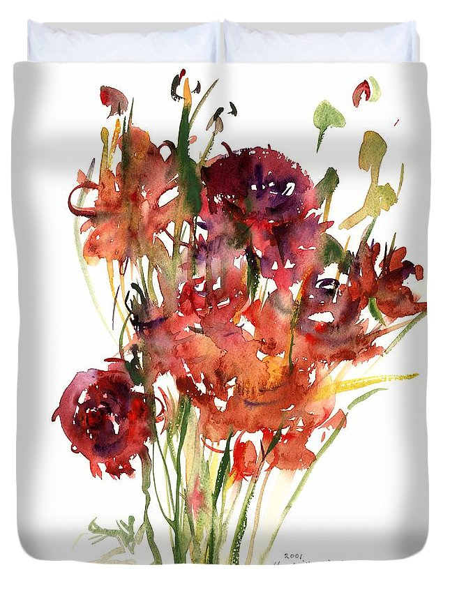 Renoncules Duvet Cover featuring the painting Renoncules by Claudia Hutchins-Puechavy