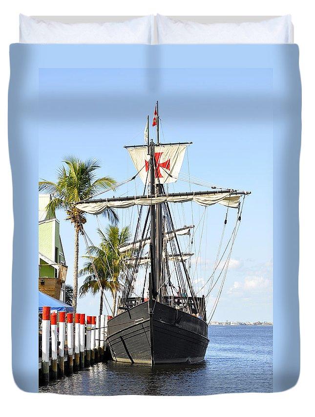 Vertical Duvet Cover featuring the photograph Replica Of The Christopher Columbus Ship Pinta by Sally Rockefeller