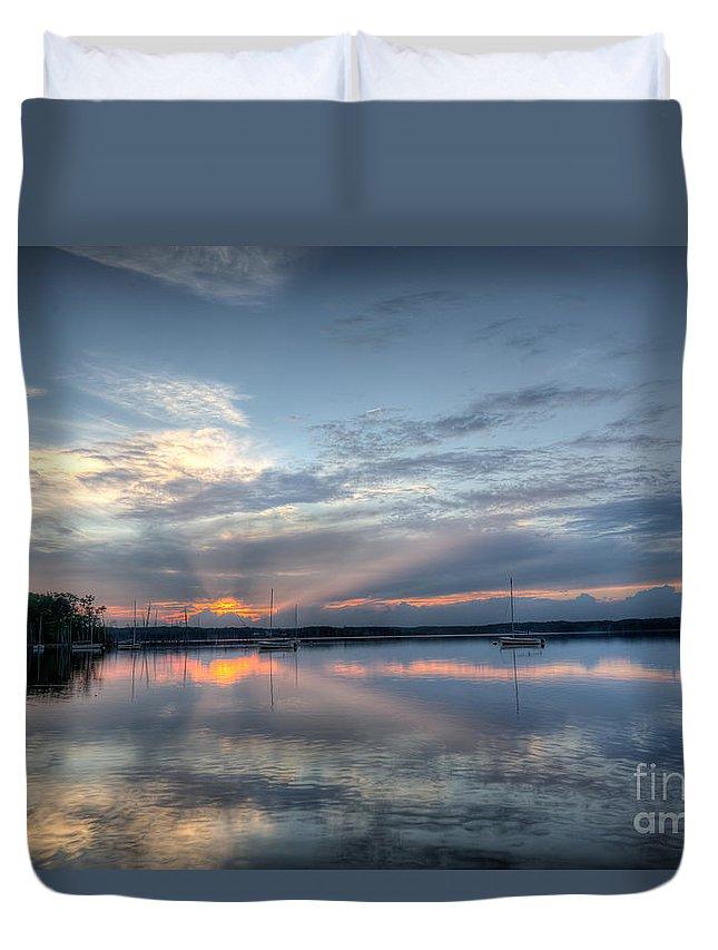 Manasquan Reservoir Duvet Cover featuring the photograph Reservoir Sunset by Michael Ver Sprill