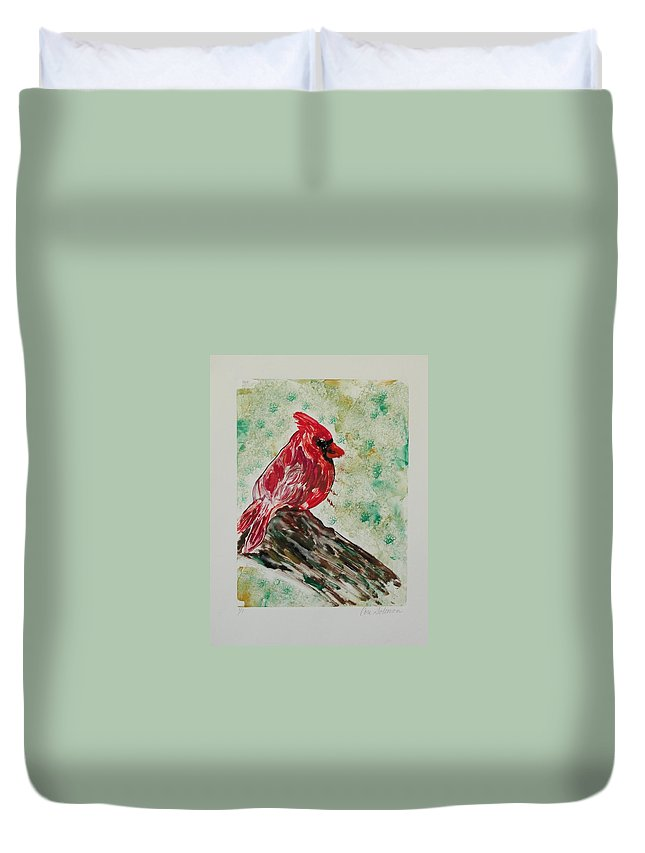 Bird Duvet Cover featuring the mixed media Rest Stop by Cori Solomon