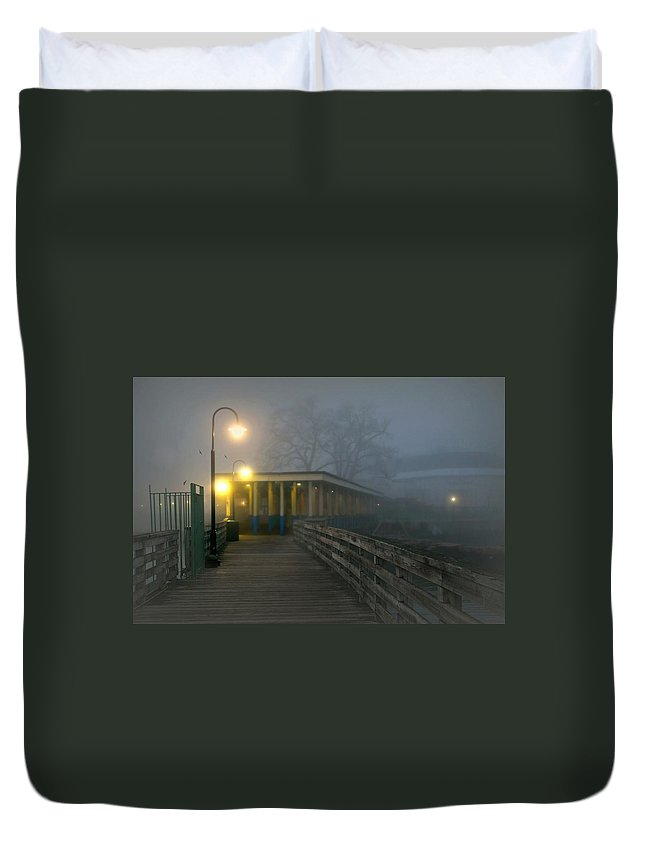 Fog Duvet Cover featuring the photograph Resta Qui by Diana Angstadt