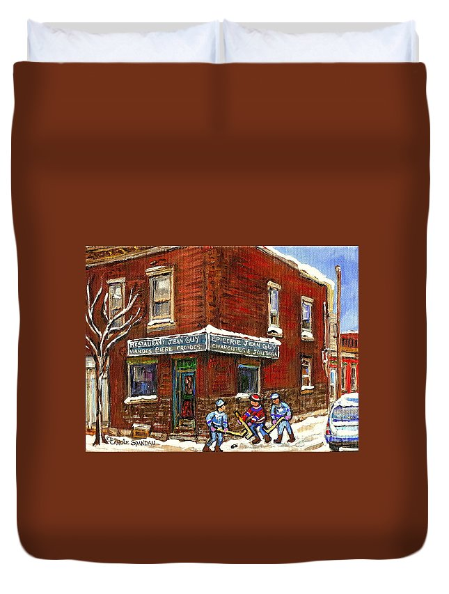 Montreal Duvet Cover featuring the painting Restaurant Epicerie Jean Guy Pointe St. Charles Montreal Art Verdun Winter Scenes Hockey Paintings  by Carole Spandau