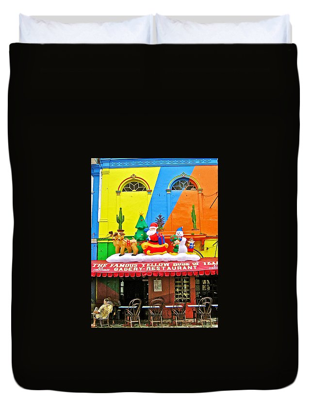 Restaurant In Gateway To The Amazon River In Iquitos Duvet Cover featuring the photograph Restaurant In Gateway To The Amazon River In Iquitos-peru by Ruth Hager