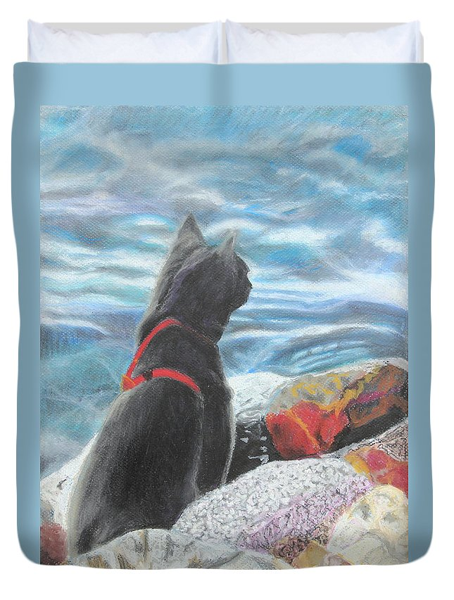 Cat Duvet Cover featuring the painting Resting By The Shore by Jeanne Fischer