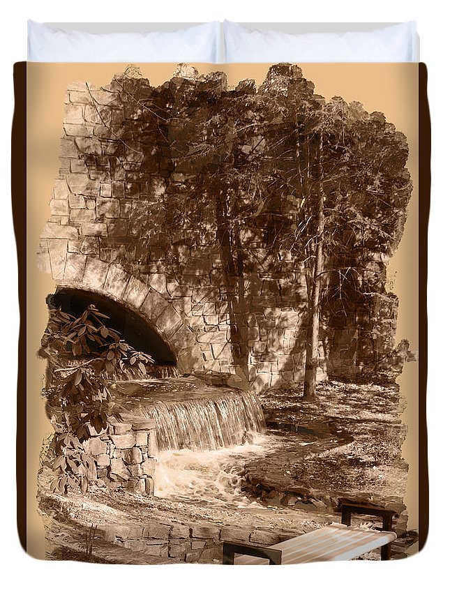 Wright Duvet Cover featuring the digital art Resting Place - Digital Charcoal Drawing by Paulette B Wright