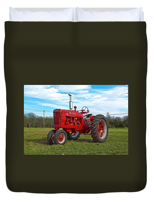 Tractor Duvet Cover featuring the photograph Restored Farmall Tractor Hdr by Charles Beeler