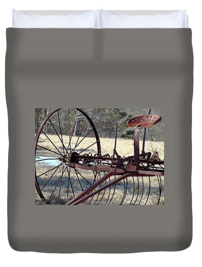 Farm Duvet Cover featuring the photograph Retired Hay Rake by Mother Nature