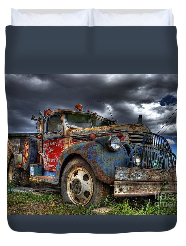 Chevrolet Duvet Cover featuring the photograph Retired by Tony Baca