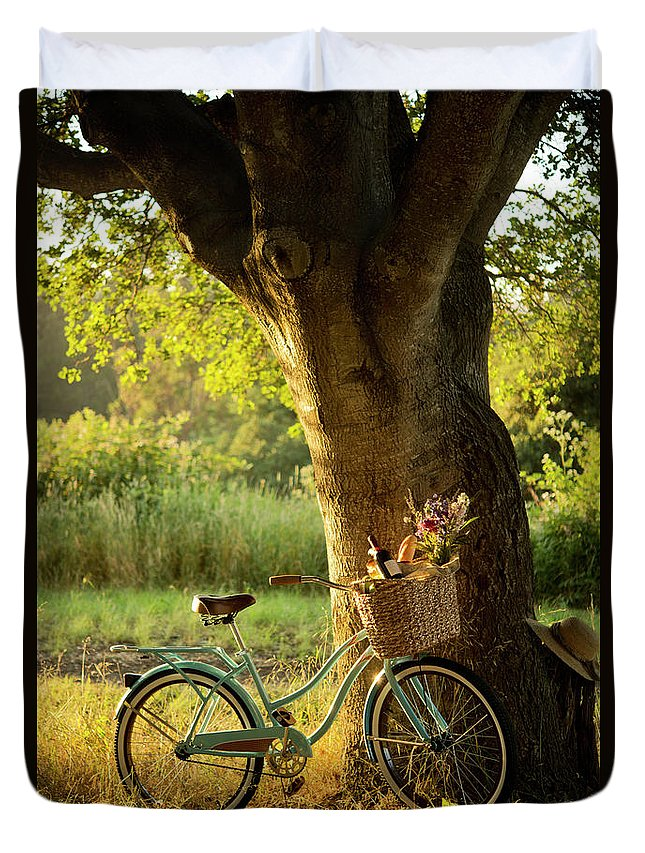 Grass Duvet Cover featuring the photograph Retro Bicycle With Red Wine In Picnic by Nightanddayimages