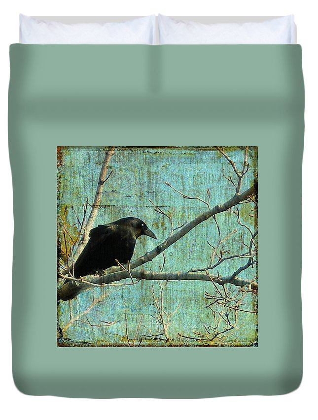 Vintage Blue Duvet Cover featuring the digital art Retro Blue - Crow by Gothicrow Images