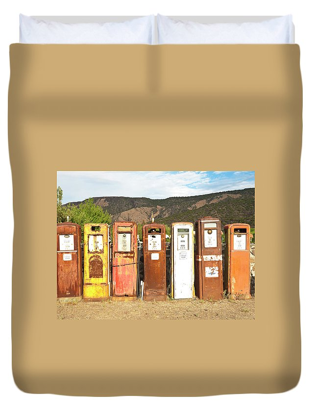 Home Decor Duvet Cover featuring the photograph Retro Gas Pumps In Outdoor Museum Nm by Helovi