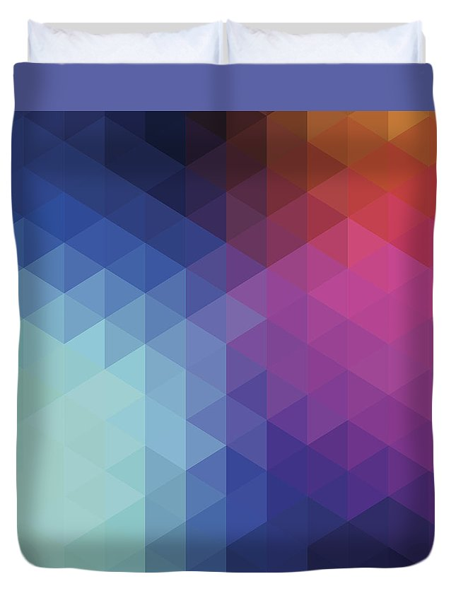 Triangle Shape Duvet Cover featuring the digital art Retro Hexagon Abstract Background by Mustafahacalaki