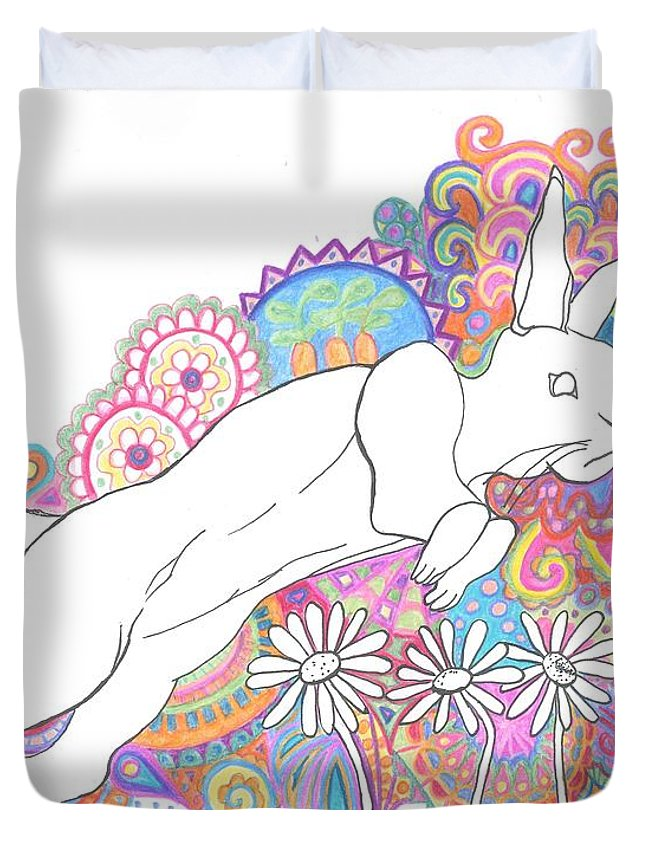 Jumping Rabbit Duvet Cover featuring the drawing Retro Rabbit 2 by Cherie Sexsmith