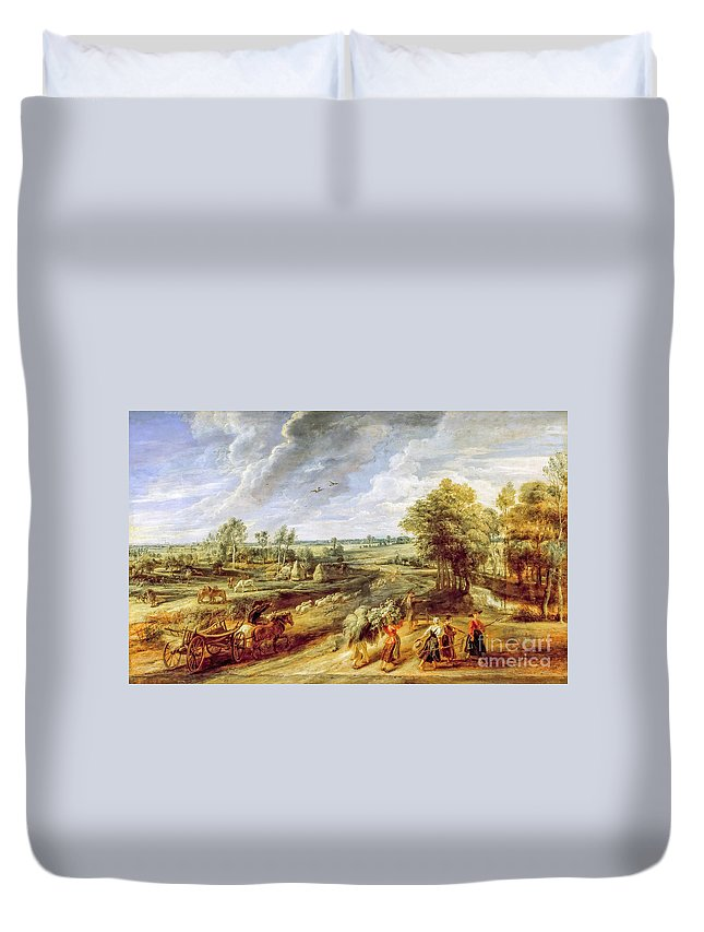 Harvest Duvet Cover featuring the painting Return From The Harvest by Viktor Birkus