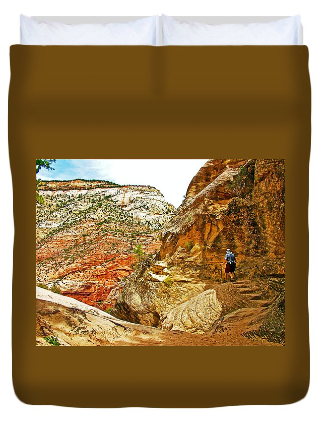 Return Trip On Hidden Canyon Trail In Zion National Park Duvet Cover featuring the photograph Return Trip On Hidden Canyon Trail In Zion National Park-utah by Ruth Hager