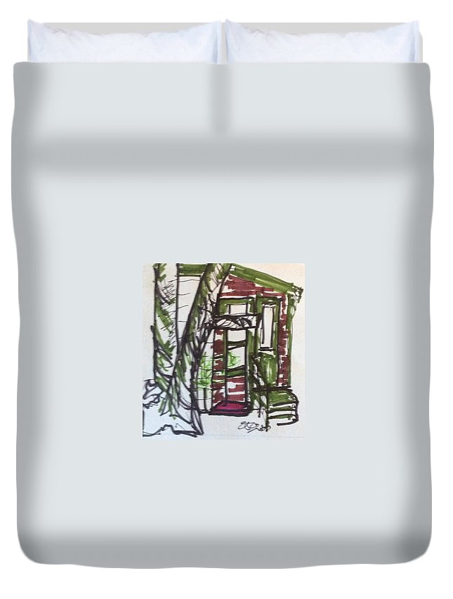 Tree Duvet Cover featuring the drawing Reunion 3 by Erika Chamberlin