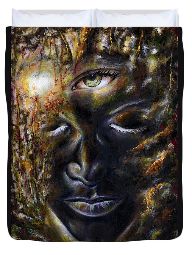 Eye Duvet Cover featuring the painting Revelation by Hiroko Sakai
