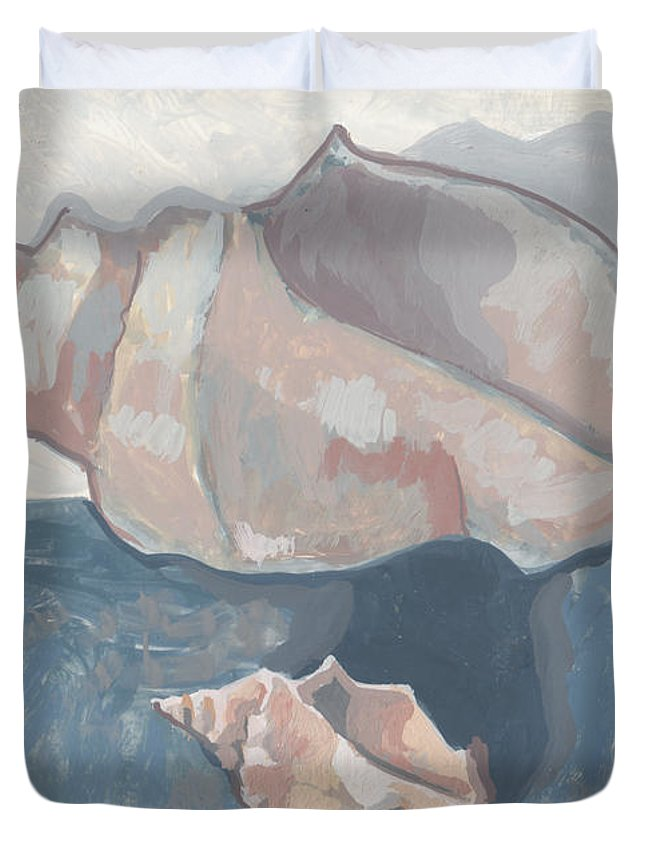 Shell Duvet Cover featuring the painting Reversal Of States by Richard Glen Smith