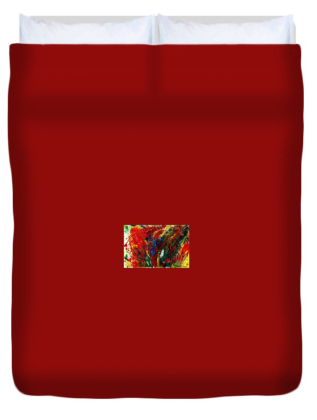 Abstract Duvet Cover featuring the painting Revival by Jasna Dragun