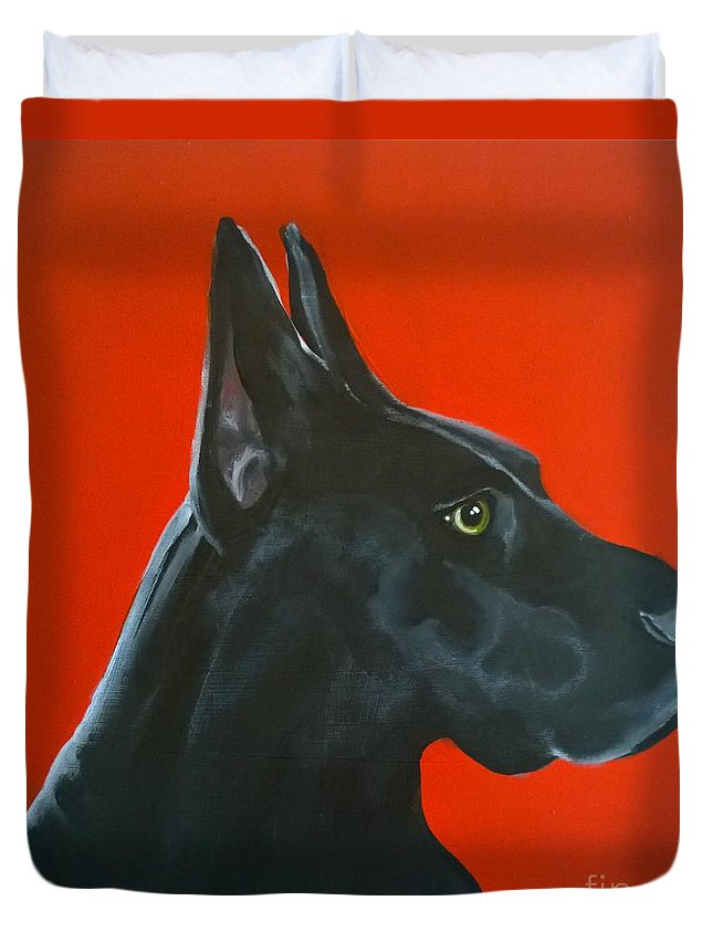 Dog Duvet Cover featuring the painting Rex The Doberman by Caroline Peacock