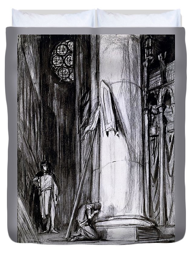Rheims Cathedral Duvet Cover featuring the drawing Rheims Cathedral, Scene From St Joan by Charles Ricketts