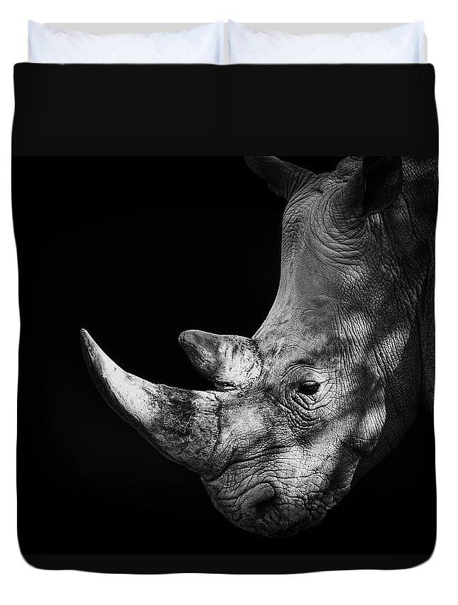 Horned Duvet Cover featuring the photograph Rhinoceros by Malcolm Macgregor