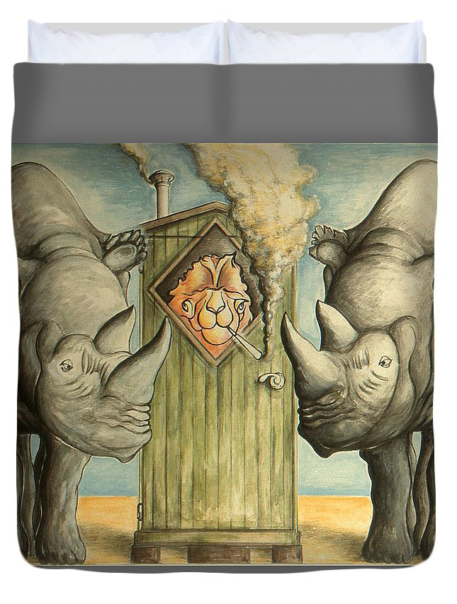 Trump Duvet Cover featuring the drawing America Under Pressure - Anti Trump Cartoon by Peter Potter