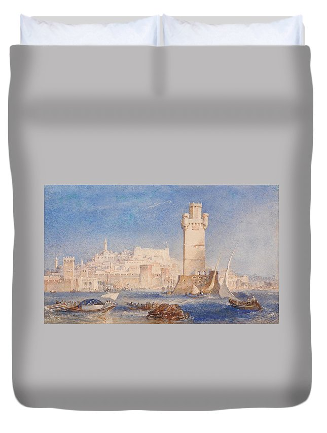 1823 Duvet Cover featuring the painting Rhodes by JMW Turner