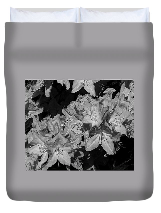 Flower Duvet Cover featuring the photograph Rhododendron Heaven In Black And White by Jeanette C Landstrom
