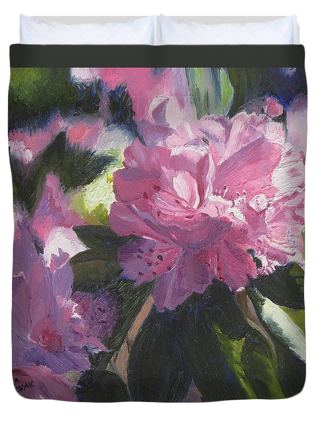 Flowers Duvet Cover featuring the painting Rhododendron Squared by Lea Novak