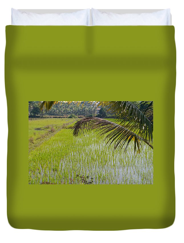 Farming Duvet Cover featuring the digital art Rice Paddy by Carol Ailles