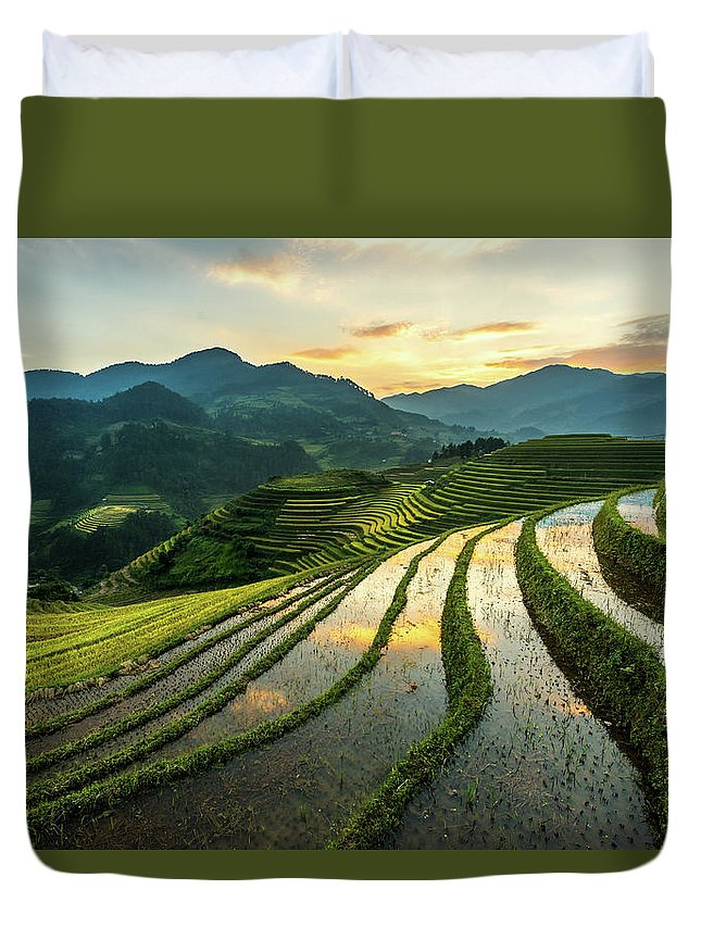 Scenics Duvet Cover featuring the photograph Rice Terraces At Mu Cang Chai, Vietnam by Chan Srithaweeporn