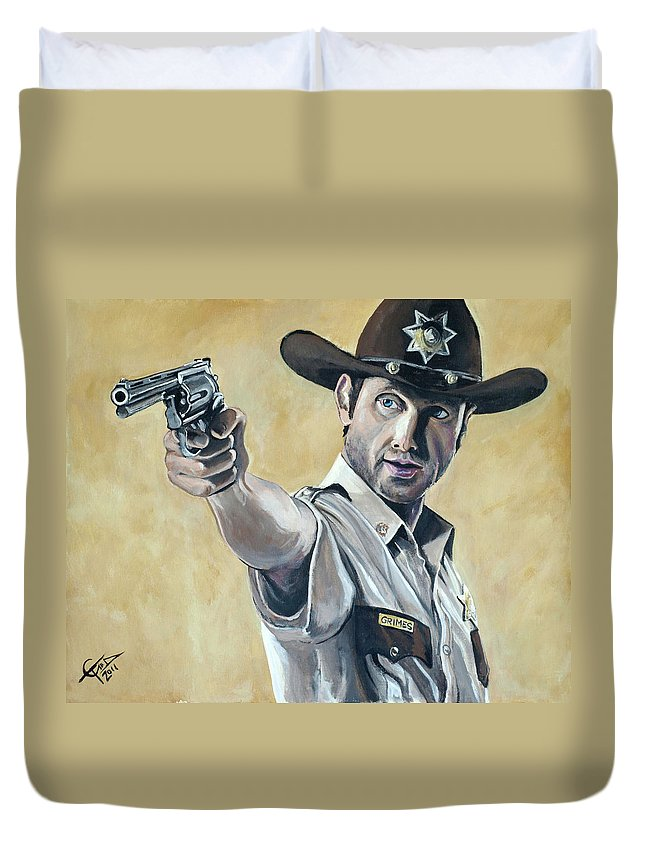 The Walking Dead Duvet Cover featuring the painting Rick Grimes by Tom Carlton