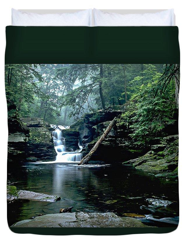 Ricketts Glen State Park Duvet Cover featuring the photograph Ricketts Glen Falls 016 by Scott McAllister