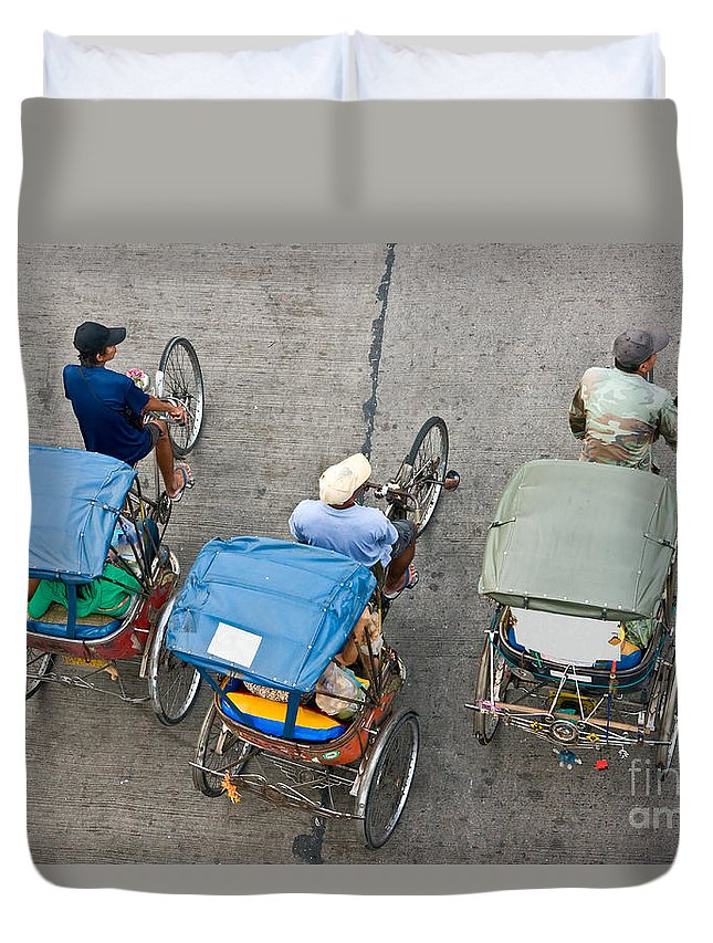 People Duvet Cover featuring the photograph Rickshaw Driver - Bangkok by Luciano Mortula