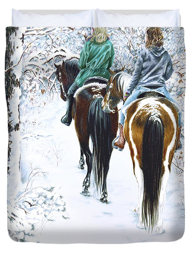 Snow Duvet Cover featuring the drawing Ride Into Faerieland by Jill Westbrook