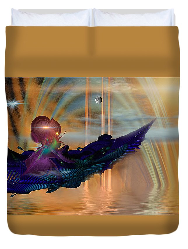 Phil Sadler Duvet Cover featuring the digital art Rider by Phil Sadler