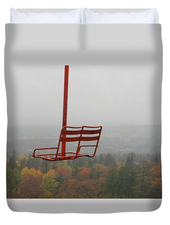 Ski Duvet Cover featuring the photograph Riding Fall Colors by Jason Asselin