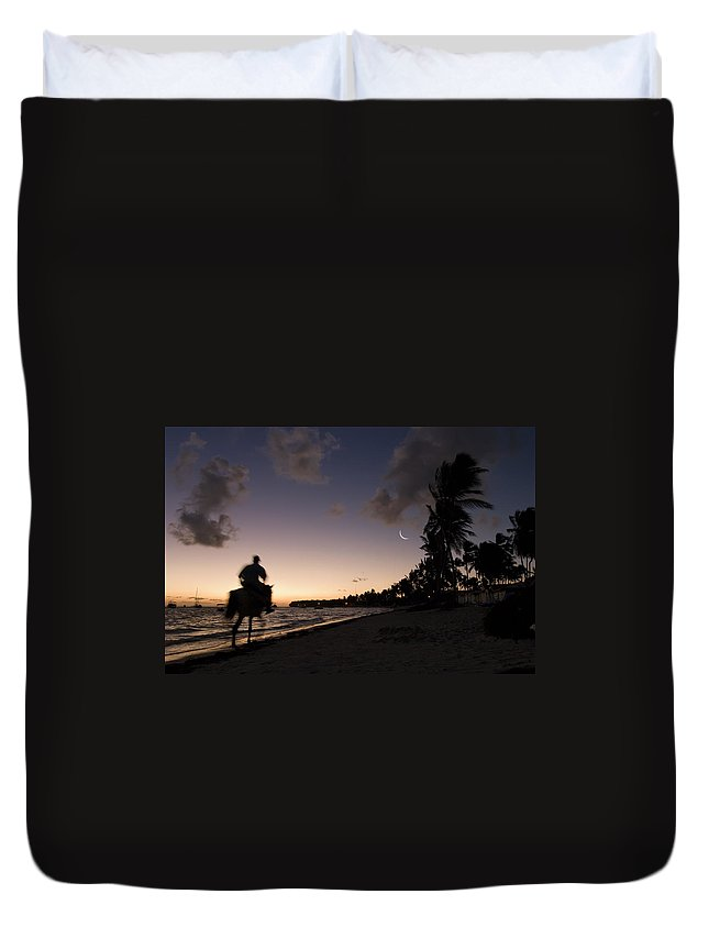 3scape Duvet Cover featuring the photograph Riding On The Beach by Adam Romanowicz