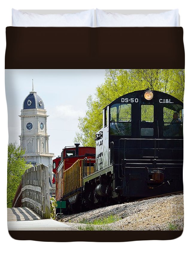 Indiana Duvet Cover featuring the photograph Riding The Train by Alys Caviness-Gober
