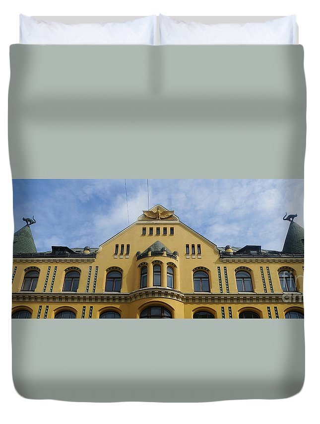 Europe Duvet Cover featuring the photograph Riga Cat House by Rudi Prott