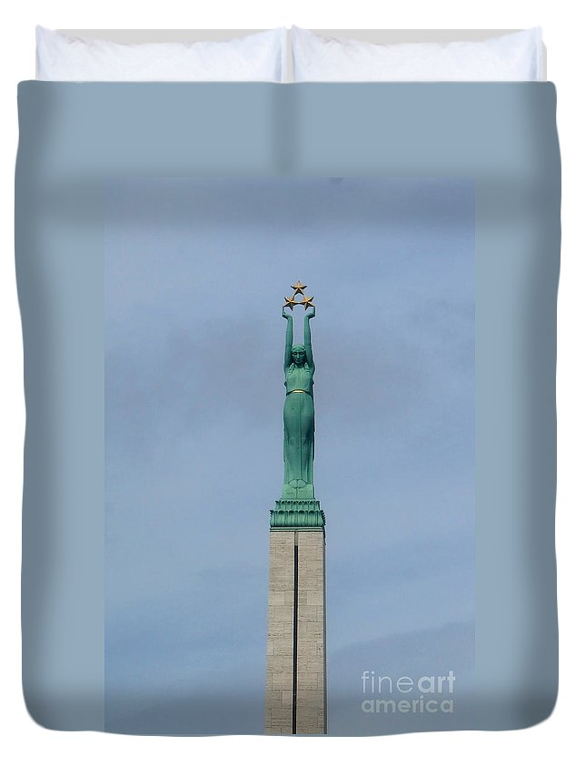 Europe Duvet Cover featuring the photograph Riga Freedom Monument by Rudi Prott